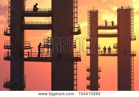 Silhouette of worker at the plant.,3d render
