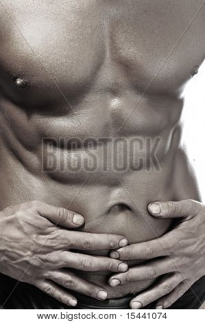 Muscle body, strong macho man on white poster