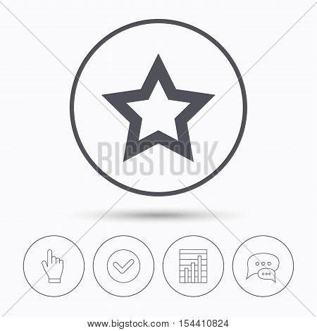 Star icon. Favorite or best sign. Web ranking symbol. Chat speech bubbles. Check tick, report chart and hand click. Linear icons. Vector