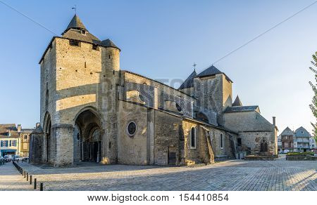 OLORON SAINTE MARIE,FRANCE - AUGUST 31,2016 - Cathedral of Saint Marie in Oloron. Town is situated at the feet of the Pyrenees 50 km from the Spanish border and 100 km from the Atlantic ocean.