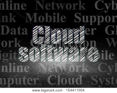 Cloud computing concept: Glowing text Cloud Software in grunge dark room with Dirty Floor, black background with  Tag Cloud
