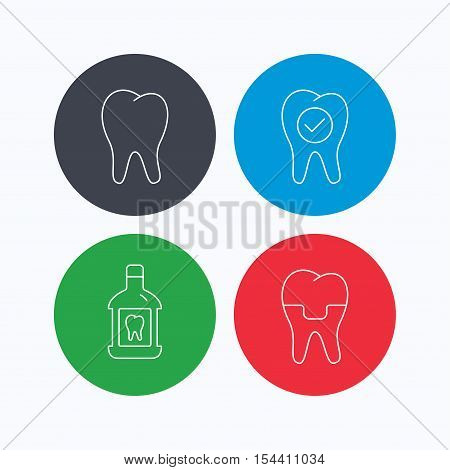 Tooth, dental crown and mouthwash icons. Check teeth linear sign. Linear icons on colored buttons. Flat web symbols. Vector