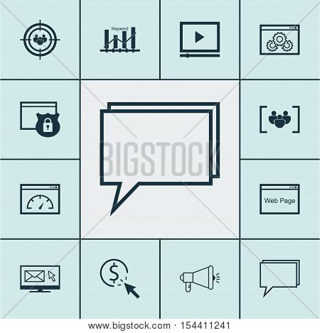 Set Of Advertising Icons On Loading Speed, Video Player And Focus Group Topics. Editable Vector Illu