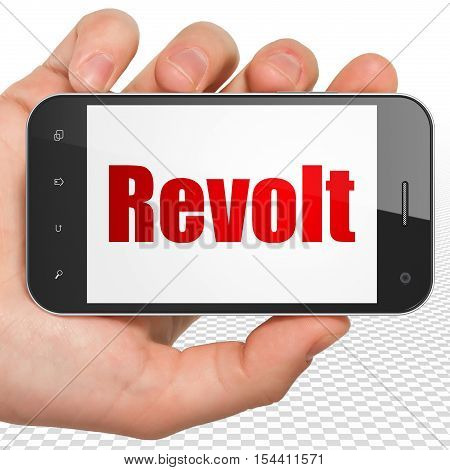 Politics concept: Hand Holding Smartphone with red text Revolt on display, 3D rendering