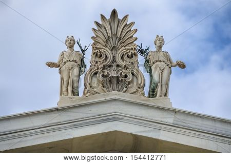 Sculptures pediment on the roof of Zappeion megaron in Athens Grrece