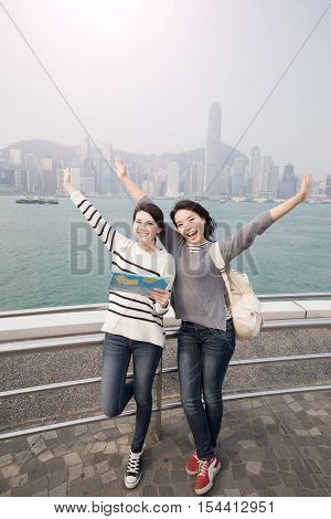 two beauty woman feel free and traveler in hongkong
