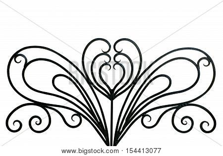 beautiful decor in wrought iron on a white background