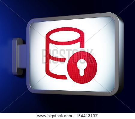 Software concept: Database With Lock on advertising billboard background, 3D rendering