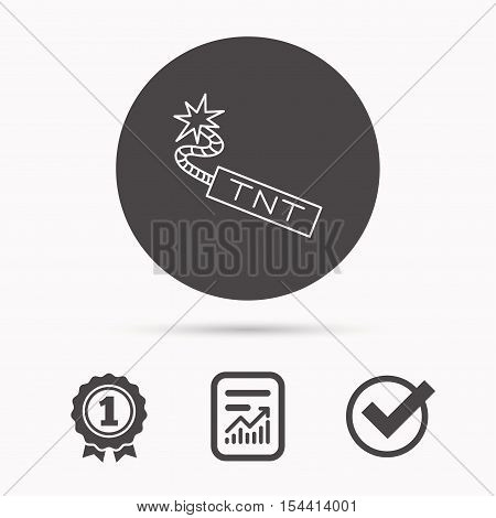 TNT dynamite icon. Bomb explosion sign. Report document, winner award and tick. Round circle button with icon. Vector