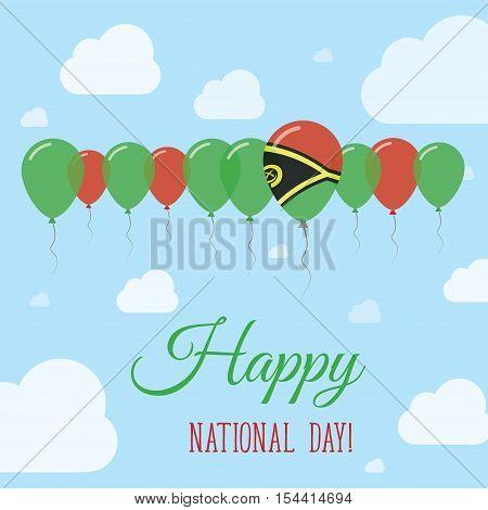 Vanuatu National Day Flat Patriotic Poster. Row Of Balloons In Colors Of The Ni-vanuatu Flag. Happy