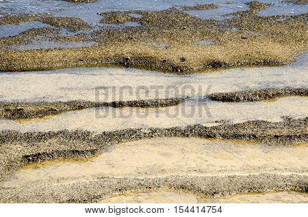 Underwater texture of a coloful rocky seafloor with stone pieces