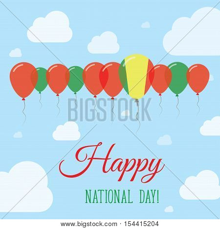 Mali National Day Flat Patriotic Poster. Row Of Balloons In Colors Of The Malian Flag. Happy Nationa
