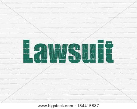 Law concept: Painted green text Lawsuit on White Brick wall background