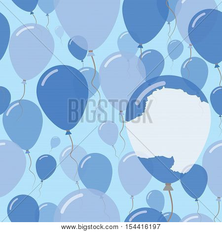 Antarctica National Day Flat Seamless Pattern. Flying Celebration Balloons In Colors Of Antarctica F