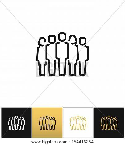 Staff group vector icon. Staff group program on black, white and gold background