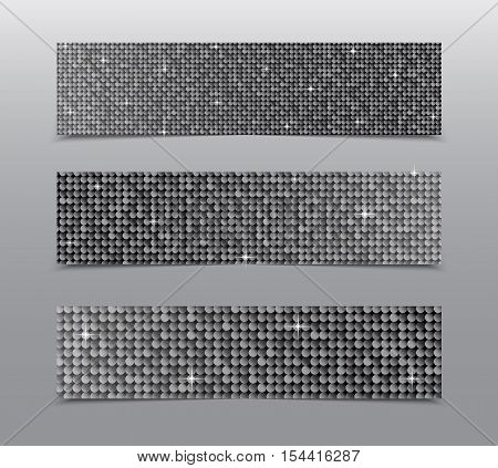 Horizontal set of Silver sequins banners template for business design, infographics. Vector illustration eps10. Mosaic sequins glitter sparkle, stars.