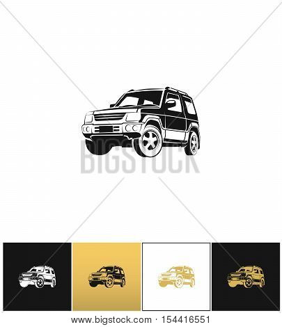 SUV car vector icon. SUV car program on black, white and gold background