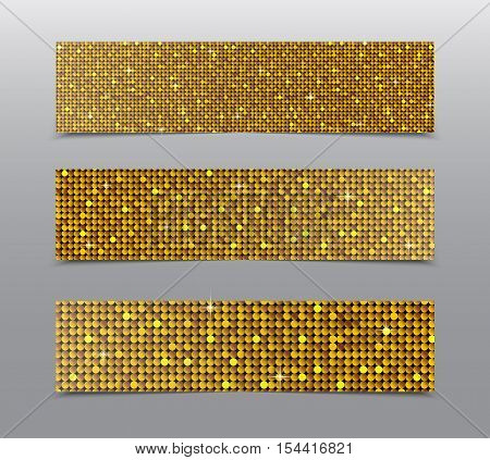 Horizontal set of Gold sequins banners template for business design, infographics. Vector illustration eps10. Mosaic sequins glitter sparkle, stars.