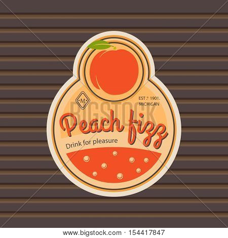 Peach fizz retro fruit label and simple pattern backdrop. Vector illustration