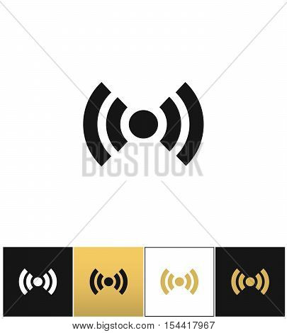 Wi-fi wireless signal spot symbol vector icon on black, white and gold background