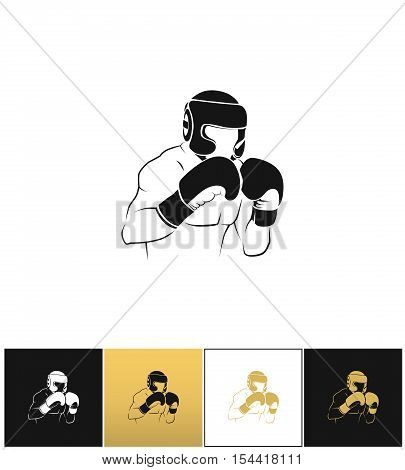 Boxer silhouette or boxing combat vector icon on black, white and gold backgrounds