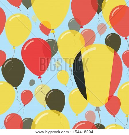 Belgium National Day Flat Seamless Pattern. Flying Celebration Balloons In Colors Of Belgian Flag. H