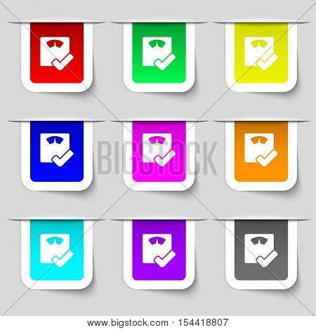 Bathroom Scales Icon Sign. Set Of Multicolored Modern Labels For Your Design. Vector
