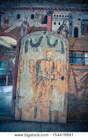 Religious fresco on a wooden panel in Maramures Romania