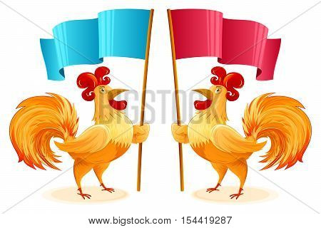 Roosters for New Year 2017 holding blue and red flags; Character a fun colorful Cockerel; Vector cartoon drawing Eps8