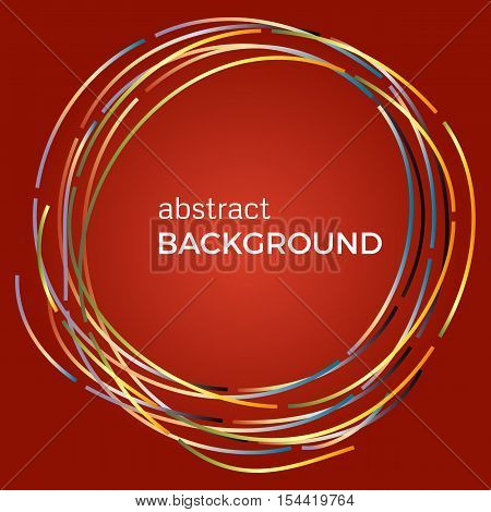 Beautiful light circles on a red background. Abstract flash light circles. Vector technology background.