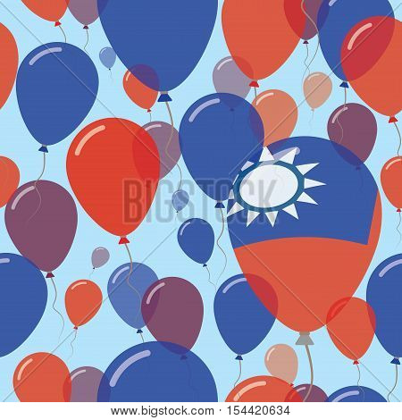 Taiwan, Republic Of China National Day Flat Seamless Pattern. Flying Celebration Balloons In Colors