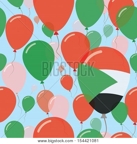 Sudan National Day Flat Seamless Pattern. Flying Celebration Balloons In Colors Of Sudanese Flag. Ha
