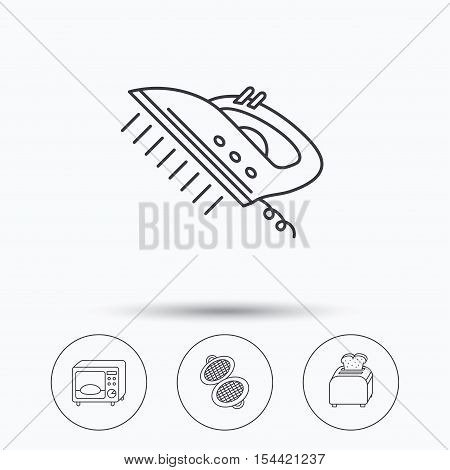 Microwave oven, waffle-iron and toaster icons. Steam ironing linear sign. Linear icons in circle buttons. Flat web symbols. Vector