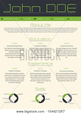 Modern curriculum vitae cv resume template design in green gray colors