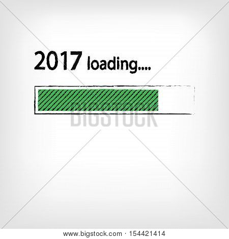 New year 2017 loading background happy new year. Funny business concept: mail load. Green color. Space for your text