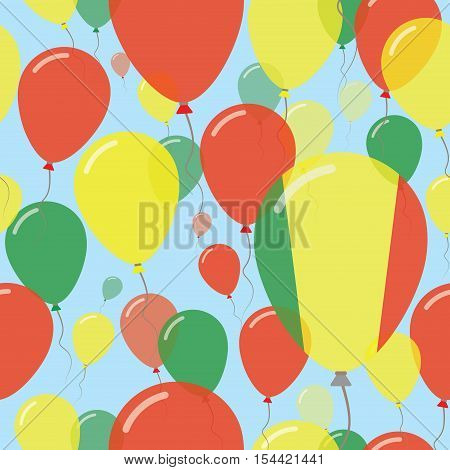 Mali National Day Flat Seamless Pattern. Flying Celebration Balloons In Colors Of Malian Flag. Happy