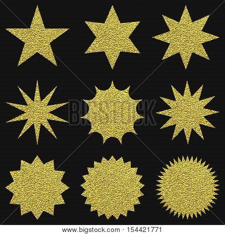 Collection Of Trendy Retro Stars Shapes.sunburst Design Elements Set.
