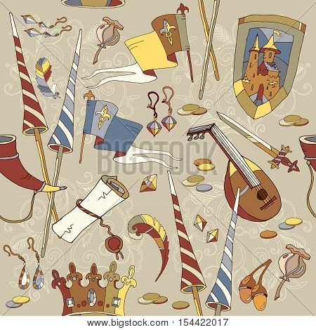 Medieval seamless pattern castle sword crown heraldic knight symbols and elements vector