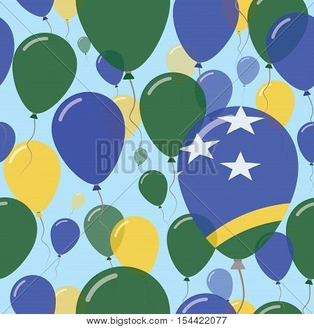 Solomon Islands National Day Flat Seamless Pattern. Flying Celebration Balloons In Colors Of Solomon