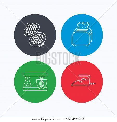 Iron, toaster and blender icons. Waffle-iron linear sign. Linear icons on colored buttons. Flat web symbols. Vector