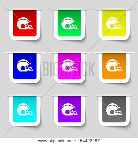 Football Helmet Icon Sign. Set Of Multicolored Modern Labels For Your Design. Vector