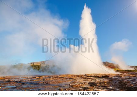 Great view of Strokkur geyser in morning light. Popular tourist attraction. Unusual and gorgeous scene. Location place Geyser Park, Hvita river, Haukadalur valley area, Iceland. Europe. Beauty world.