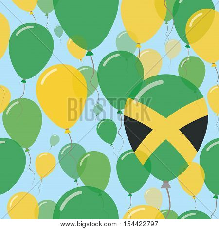 Jamaica National Day Flat Seamless Pattern. Flying Celebration Balloons In Colors Of Jamaican Flag.