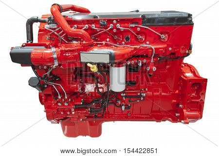 Modern six cylinder heavy duty diesel engine isolated on white background