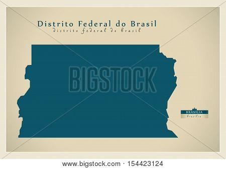 Modern Map - Distrito Federal do Brasil BR Brazil illustration vector