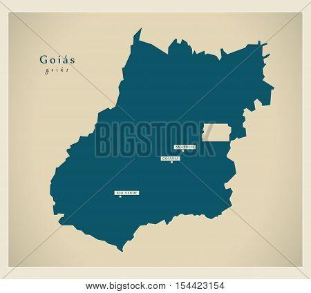 Modern Map - Goias BR Brazil illustration vector