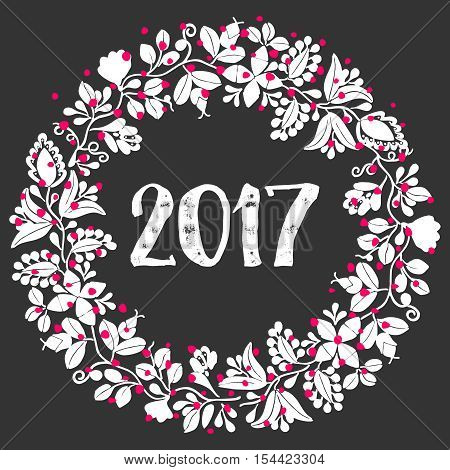 White and red 2017 laurel wreath frame isolated on black background  White and red 2017 laurel wreath vector frame isolated on black background