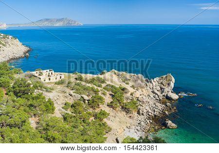 Crimean landscape with Black Sea shore near Noviy Svet resort in spring season.