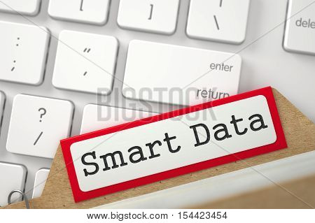 Smart Data. Red Archive Bookmarks of Card Index Concept on Background of White PC Keyboard. Archive Concept. Close Up View. Selective Focus. 3D Rendering.