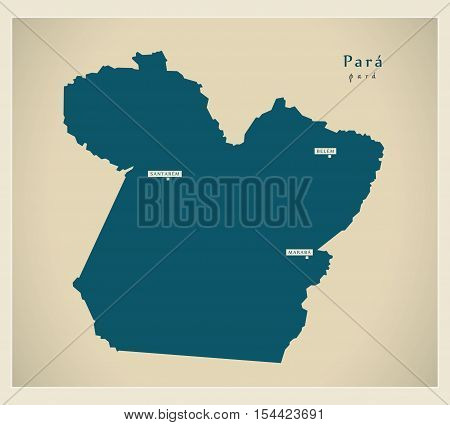 Modern Map - Para BR Brazil illustration vector